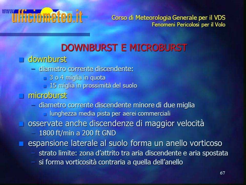 67 Corso di Meteorologia Generale per il VDS Fenomeni Pericolosi per il Volo DOWNBURST E MICROBURST n downburst –diametro corrente discendente: n 3 o
