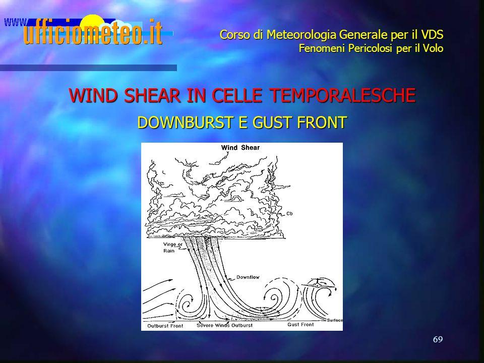 69 Corso di Meteorologia Generale per il VDS Fenomeni Pericolosi per il Volo WIND SHEAR IN CELLE TEMPORALESCHE DOWNBURST E GUST FRONT
