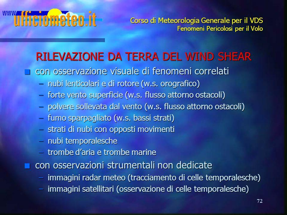 72 Corso di Meteorologia Generale per il VDS Fenomeni Pericolosi per il Volo RILEVAZIONE DA TERRA DEL WIND SHEAR n con osservazione visuale di fenomeni correlati –nubi lenticolari e di rotore (w.s.