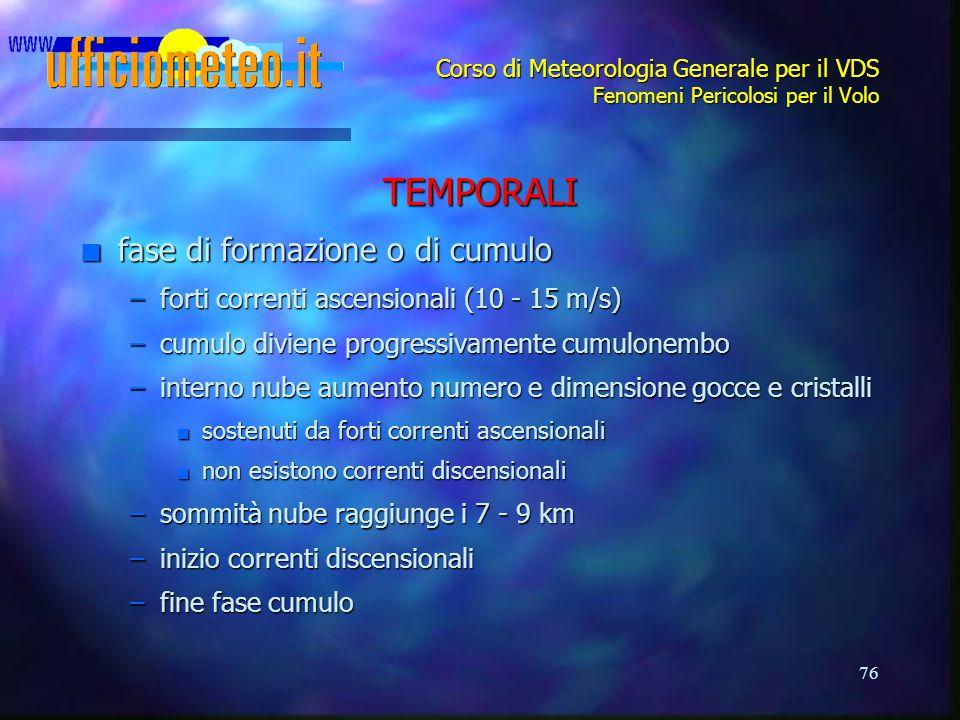 76 Corso di Meteorologia Generale per il VDS Fenomeni Pericolosi per il Volo TEMPORALI n fase di formazione o di cumulo –forti correnti ascensionali (