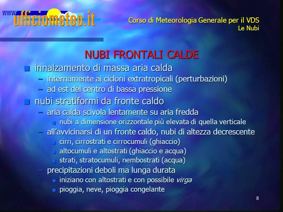 8 Corso di Meteorologia Generale per il VDS Le Nubi NUBI FRONTALI CALDE n innalzamento di massa aria calda –internamente ai cicloni extratropicali (pe