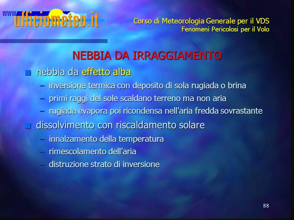 88 Corso di Meteorologia Generale per il VDS Fenomeni Pericolosi per il Volo NEBBIA DA IRRAGGIAMENTO n nebbia da effetto alba –inversione termica con