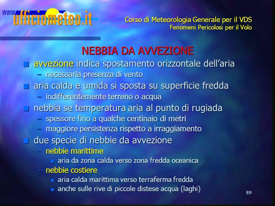 89 Corso di Meteorologia Generale per il VDS Fenomeni Pericolosi per il Volo NEBBIA DA AVVEZIONE n avvezione indica spostamento orizzontale dell'aria