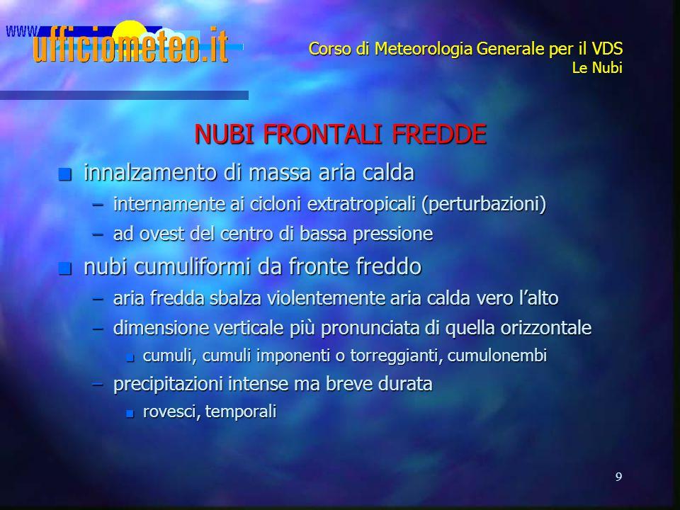 9 Corso di Meteorologia Generale per il VDS Le Nubi NUBI FRONTALI FREDDE n innalzamento di massa aria calda –internamente ai cicloni extratropicali (p