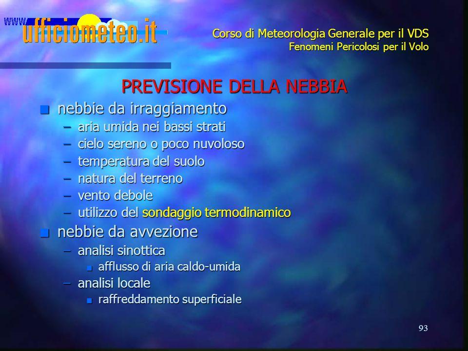 93 Corso di Meteorologia Generale per il VDS Fenomeni Pericolosi per il Volo PREVISIONE DELLA NEBBIA n nebbie da irraggiamento –aria umida nei bassi s