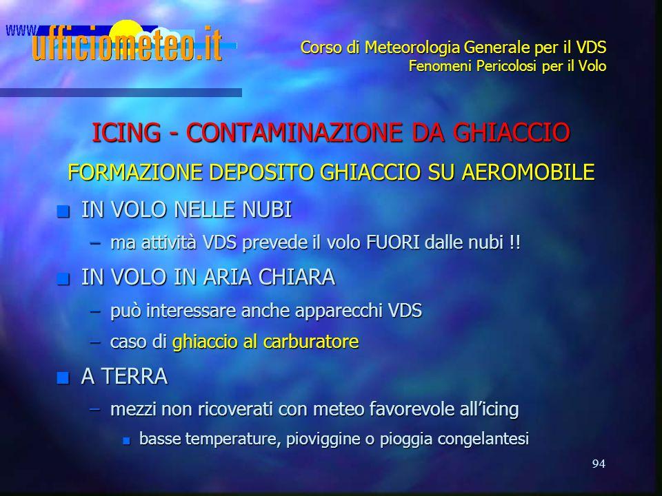 94 Corso di Meteorologia Generale per il VDS Fenomeni Pericolosi per il Volo ICING - CONTAMINAZIONE DA GHIACCIO FORMAZIONE DEPOSITO GHIACCIO SU AEROMO