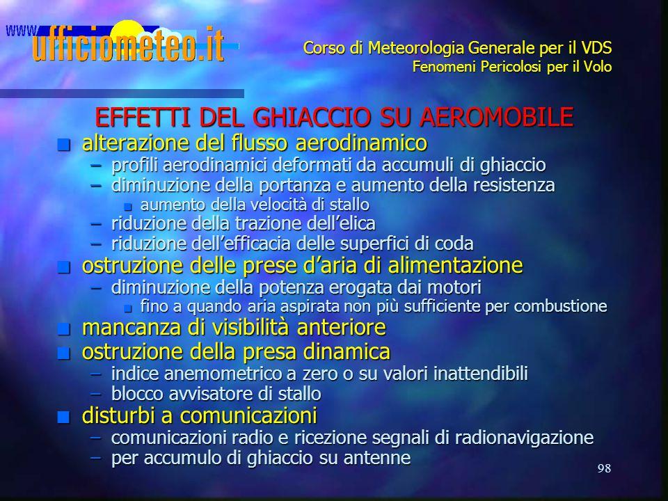 98 Corso di Meteorologia Generale per il VDS Fenomeni Pericolosi per il Volo EFFETTI DEL GHIACCIO SU AEROMOBILE n alterazione del flusso aerodinamico