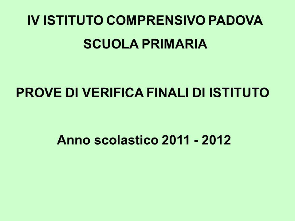 IV ISTITUTO COMPRENSIVO PADOVA SCUOLA PRIMARIA PROVE DI VERIFICA FINALI DI ISTITUTO Anno scolastico 2011 - 2012