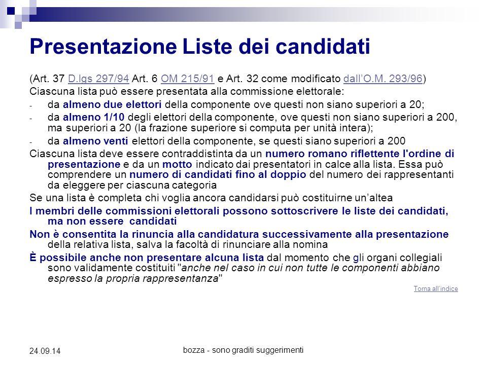 bozza - sono graditi suggerimenti 24.09.14 Presentazione Liste dei candidati (Art. 37 D.lgs 297/94 Art. 6 OM 215/91 e Art. 32 come modificato dall'O.M