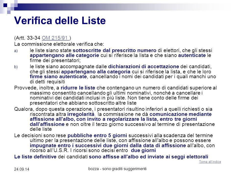 bozza - sono graditi suggerimenti 24.09.14 Verifica delle Liste (Artt. 33-34 OM 215/91 )OM 215/91 La commissione elettorale verifica che: a) le liste