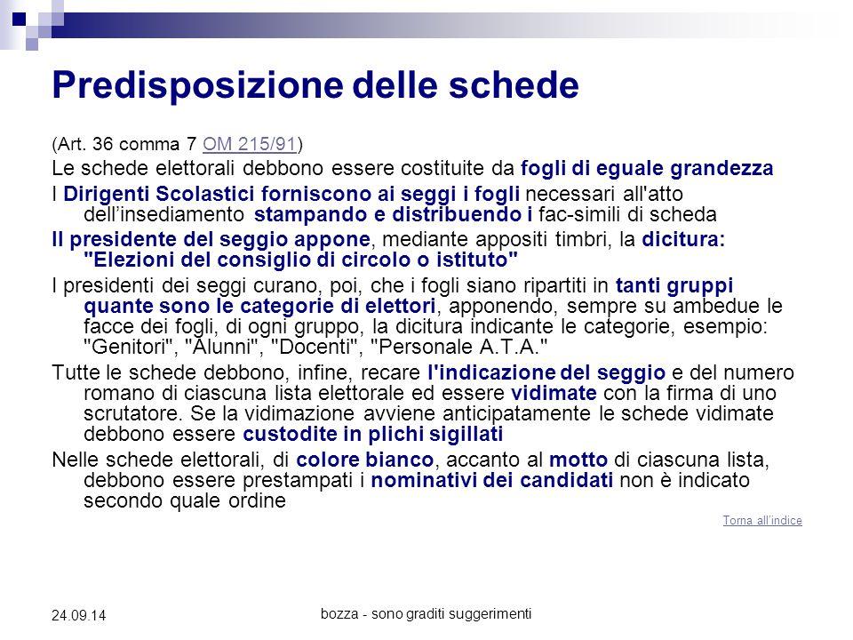 bozza - sono graditi suggerimenti 24.09.14 Predisposizione delle schede (Art. 36 comma 7 OM 215/91)OM 215/91 Le schede elettorali debbono essere costi