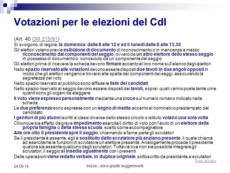 bozza - sono graditi suggerimenti 24.09.14 Votazioni per le elezioni del CdI (Art. 40 OM 215/91)OM 215/91 Si svolgono, di regola, la domenica dalle 8
