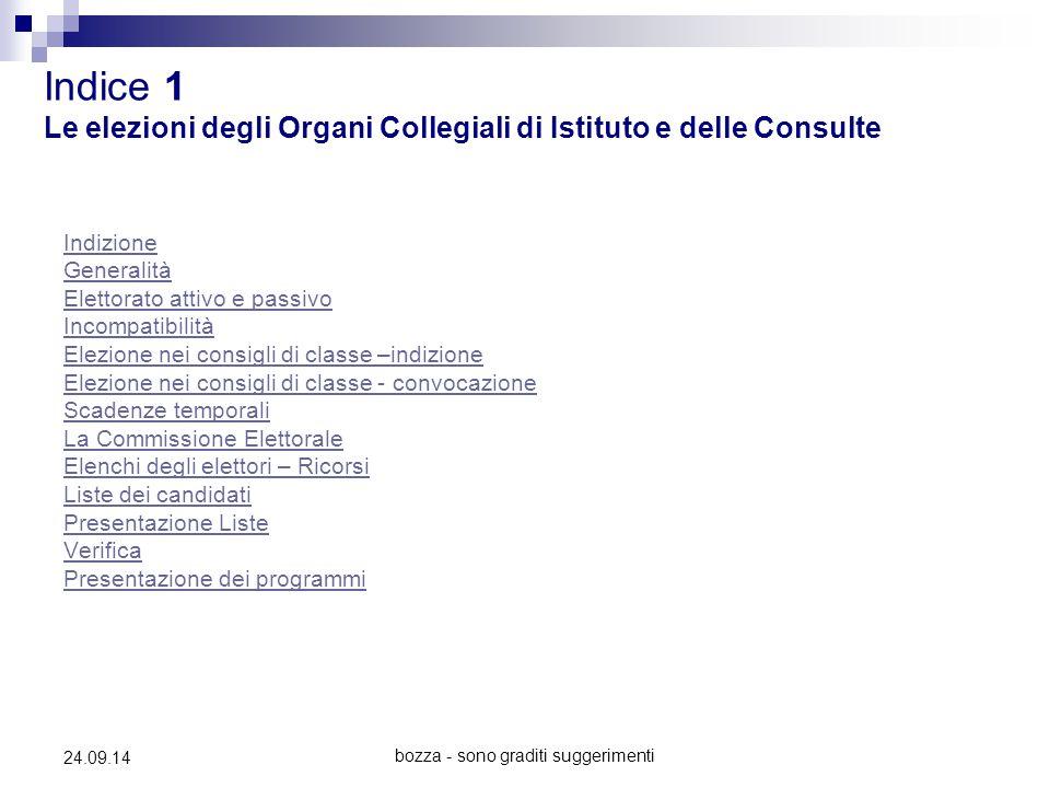 bozza - sono graditi suggerimenti 24.09.14 Indice 1 Le elezioni degli Organi Collegiali di Istituto e delle Consulte Indizione Generalità Elettorato a