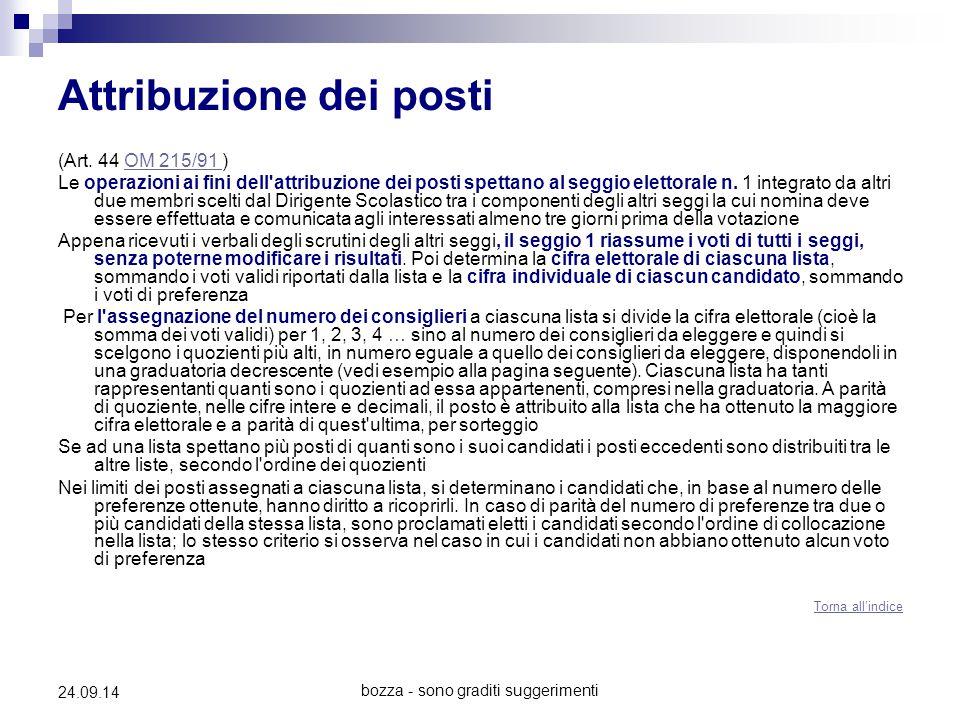bozza - sono graditi suggerimenti 24.09.14 Attribuzione dei posti (Art. 44 OM 215/91 )OM 215/91 Le operazioni ai fini dell'attribuzione dei posti spet