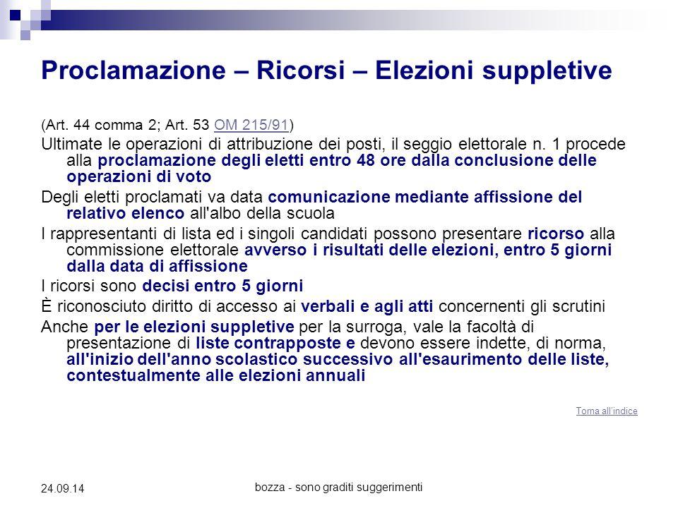 bozza - sono graditi suggerimenti 24.09.14 Proclamazione – Ricorsi – Elezioni suppletive (Art. 44 comma 2; Art. 53 OM 215/91)OM 215/91 Ultimate le ope