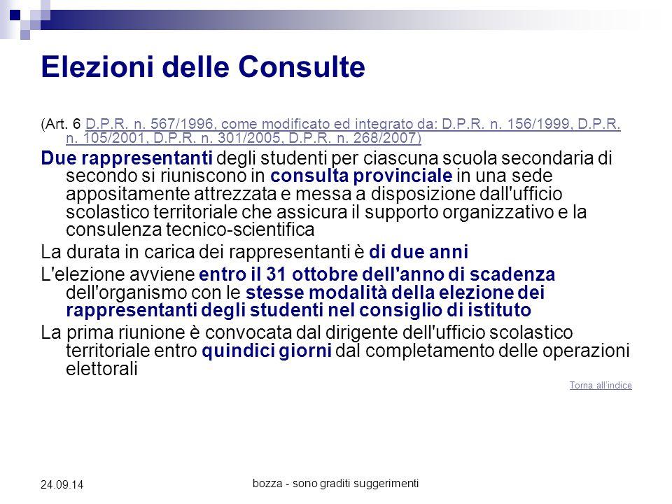 bozza - sono graditi suggerimenti 24.09.14 Elezioni delle Consulte (Art. 6 D.P.R. n. 567/1996, come modificato ed integrato da: D.P.R. n. 156/1999, D.