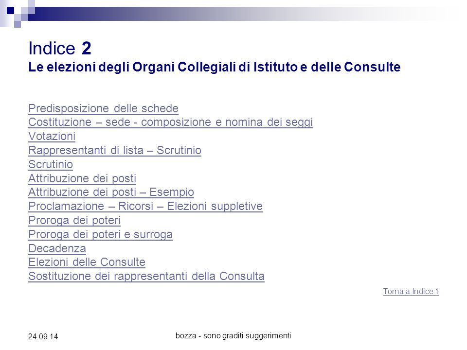 bozza - sono graditi suggerimenti 24.09.14 Indice 2 Le elezioni degli Organi Collegiali di Istituto e delle Consulte Predisposizione delle schede Cost