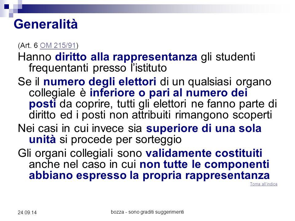 bozza - sono graditi suggerimenti 24.09.14 Generalità (Art. 6 OM 215/91)OM 215/91 Hanno diritto alla rappresentanza gli studenti frequentanti presso l