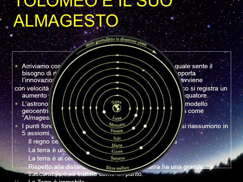 TOLOMEO E IL SUO ALMAGESTO Arriviamo così a Tolomeo, astronomo alessandrino, il quale sente il bisogno di ritoccare il modello cosmologico. Tolomeo ap