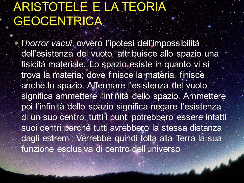 ARISTOTELE E LA TEORIA GEOCENTRICA l'horror vacui, ovvero l'ipotesi dell'impossibilità dell'esistenza del vuoto, attribuisce allo spazio una fisicità