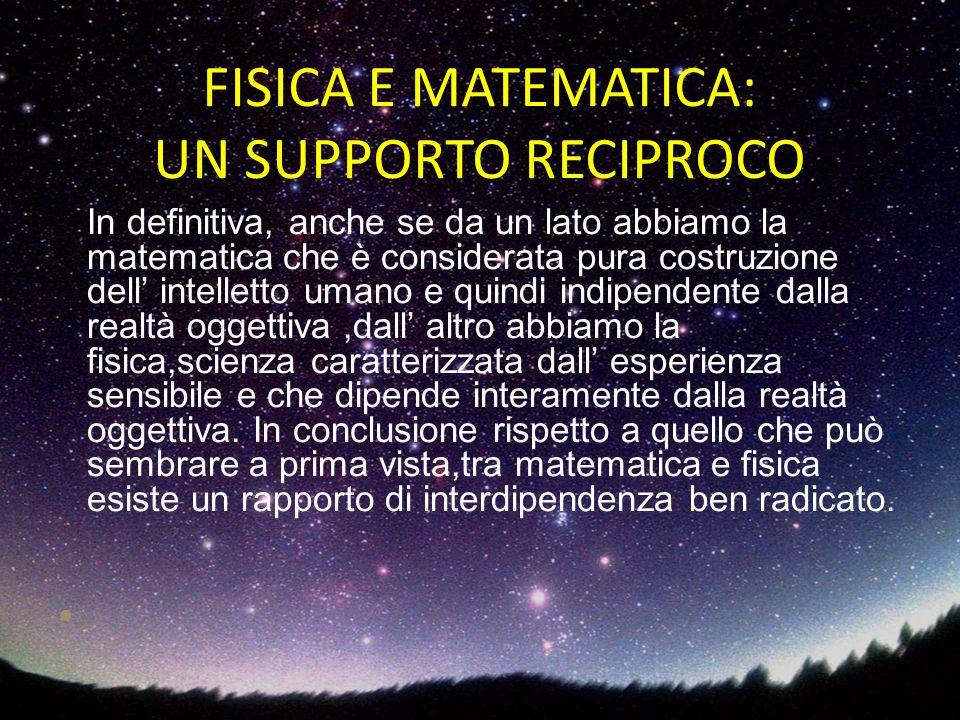 In definitiva, anche se da un lato abbiamo la matematica che è considerata pura costruzione dell' intelletto umano e quindi indipendente dalla realtà