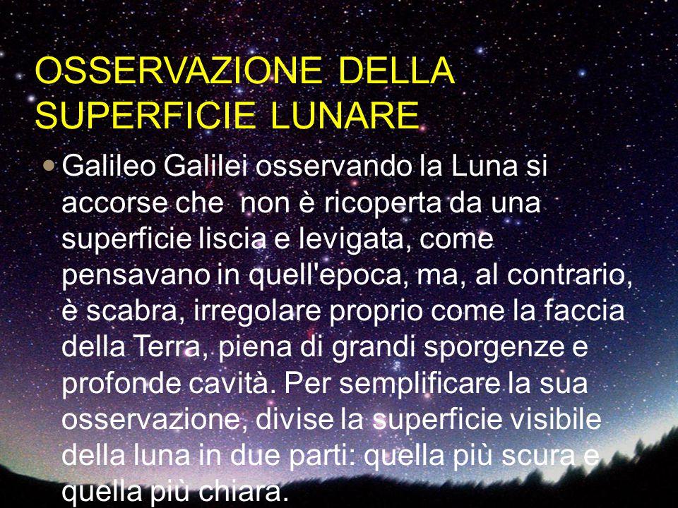 OSSERVAZIONE DELLA SUPERFICIE LUNARE Galileo Galilei osservando la Luna si accorse che non è ricoperta da una superficie liscia e levigata, come pensa