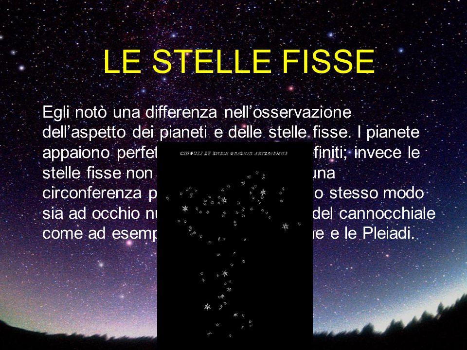 LE STELLE FISSE Egli notò una differenza nell'osservazione dell'aspetto dei pianeti e delle stelle fisse. I pianete appaiono perfettamente rotondi e d
