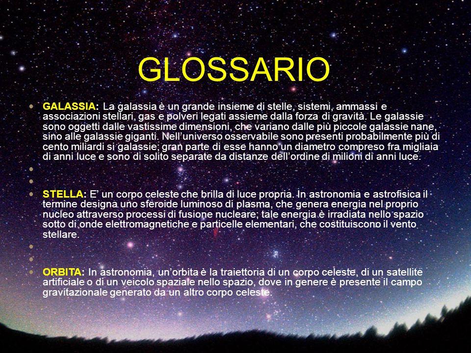 GALASSIA: La galassia è un grande insieme di stelle, sistemi, ammassi e associazioni stellari, gas e polveri legati assieme dalla forza di gravità. Le
