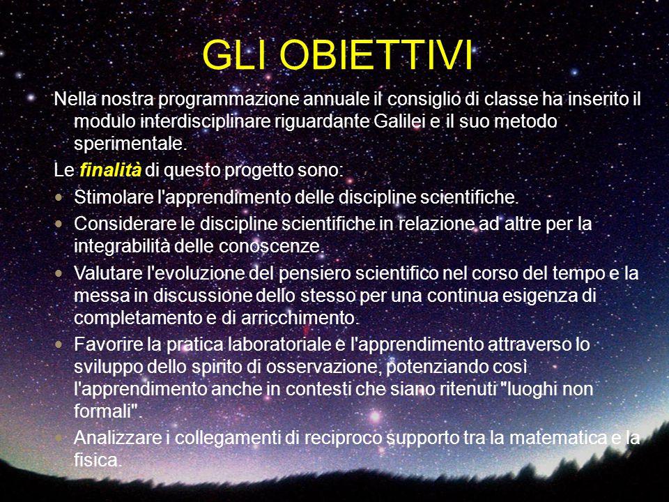 GLI OBIETTIVI Nella nostra programmazione annuale il consiglio di classe ha inserito il modulo interdisciplinare riguardante Galilei e il suo metodo s