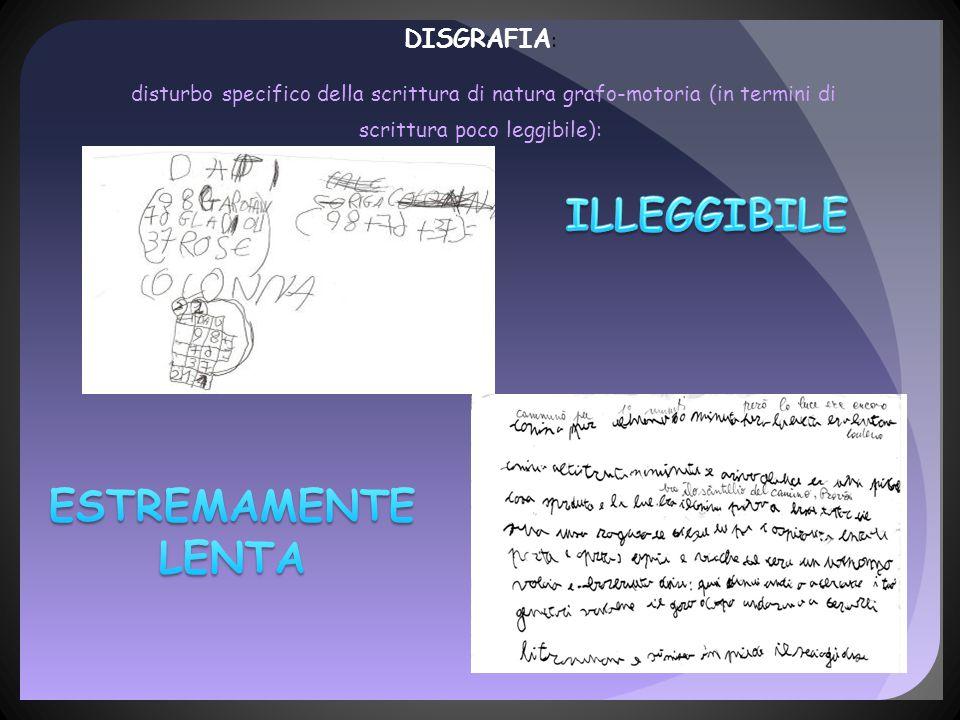 DISGRAFIA : disturbo specifico della scrittura di natura grafo-motoria (in termini di scrittura poco leggibile):