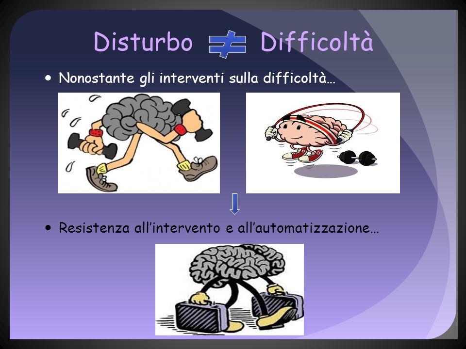 Disturbo Difficoltà Nonostante gli interventi sulla difficoltà… Resistenza all'intervento e all'automatizzazione…
