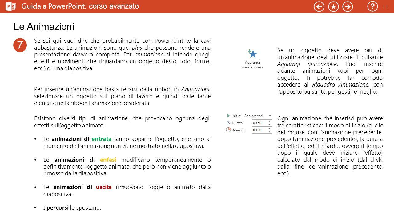 Guida a PowerPoint : corso avanzato Le Animazioni Se sei qui vuol dire che probabilmente con PowerPoint te la cavi abbastanza.