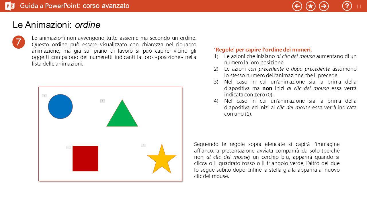 Guida a PowerPoint : corso avanzato Le Animazioni: ordine Le animazioni non avvengono tutte assieme ma secondo un ordine.