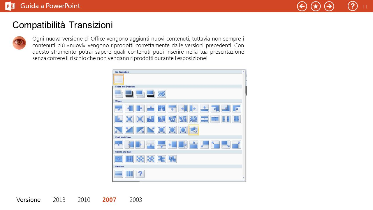 Ogni nuova versione di Office vengono aggiunti nuovi contenuti, tuttavia non sempre i contenuti più «nuovi» vengono riprodotti correttamente dalle versioni precedenti.