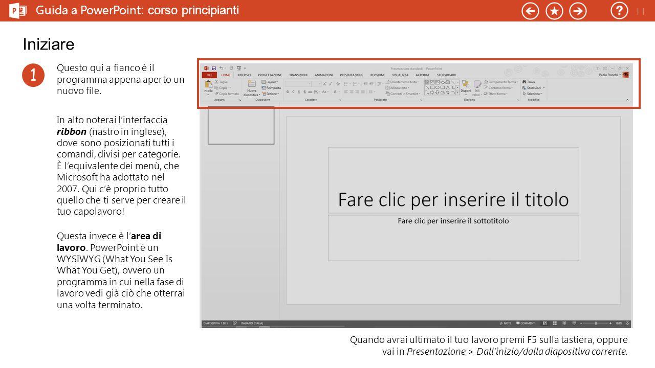 Guida a PowerPoint : corso principianti Iniziare Questo qui a fianco è il programma appena aperto un nuovo file.