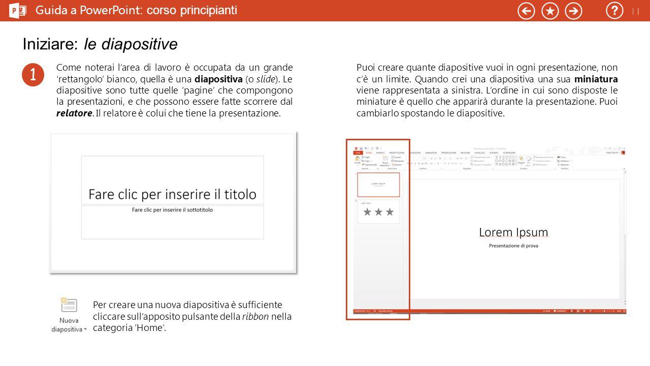 Guida a PowerPoint : corso principianti Iniziare: le diapositive Come noterai l'area di lavoro è occupata da un grande 'rettangolo' bianco, quella è una diapositiva (o slide).
