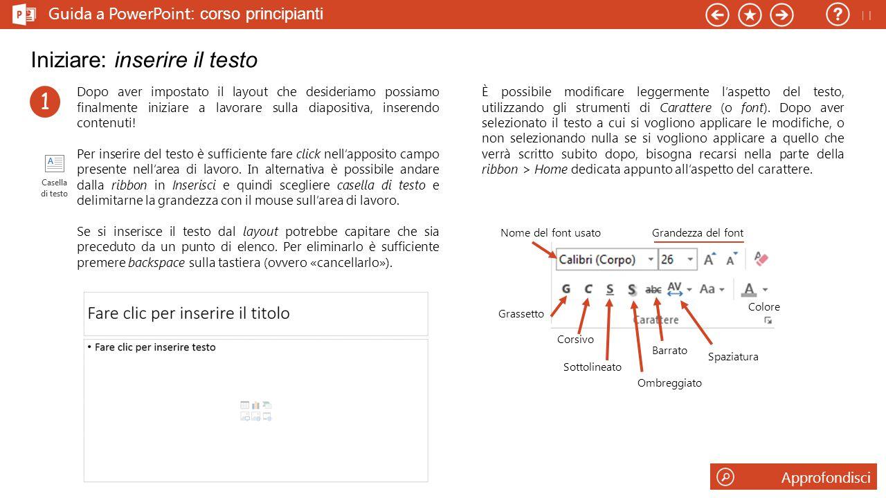 Guida a PowerPoint : corso principianti Iniziare: inserire il testo Dopo aver impostato il layout che desideriamo possiamo finalmente iniziare a lavorare sulla diapositiva, inserendo contenuti.