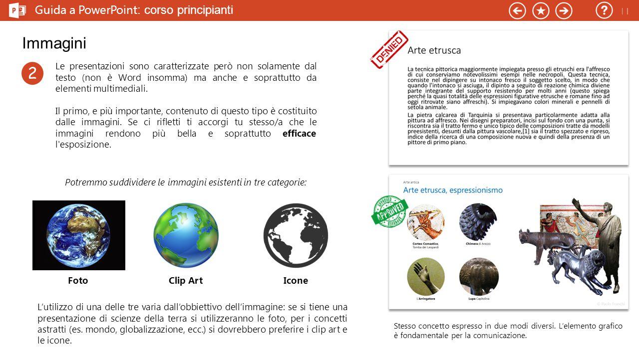 Guida a PowerPoint : corso principianti Immagini Le presentazioni sono caratterizzate però non solamente dal testo (non è Word insomma) ma anche e soprattutto da elementi multimediali.