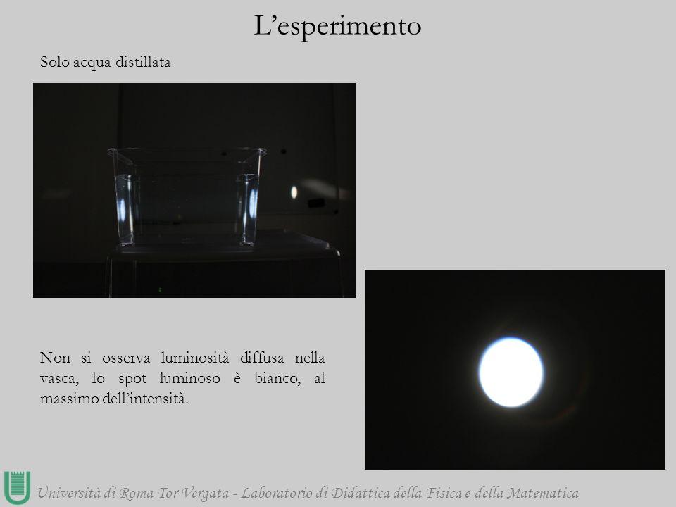 Università di Roma Tor Vergata - Laboratorio di Didattica della Fisica e della Matematica Solo acqua distillata L'esperimento Non si osserva luminosit