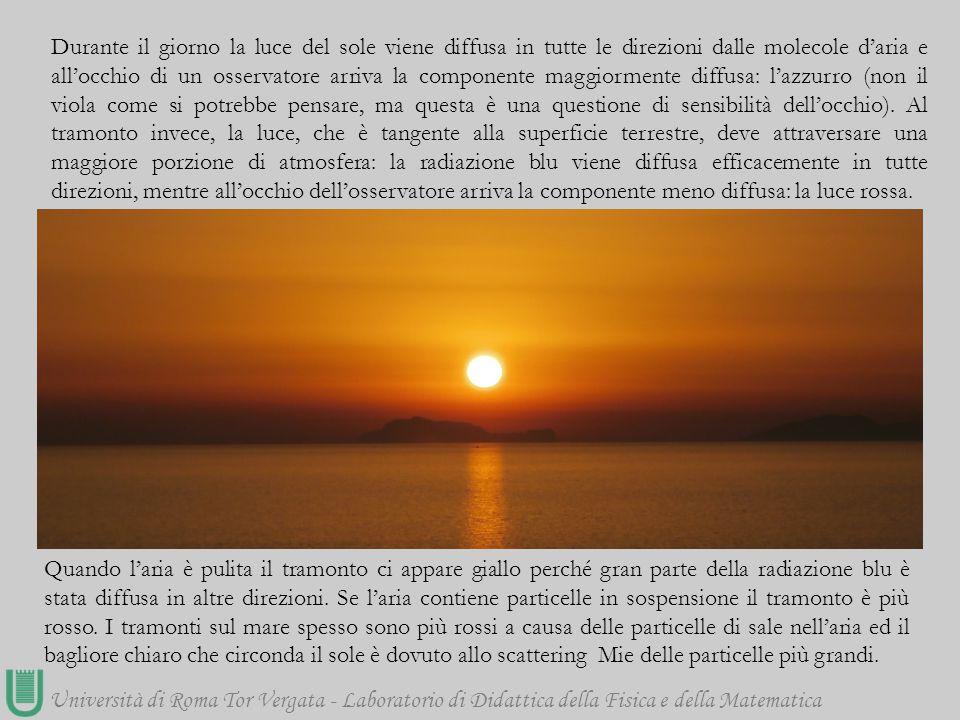 Università di Roma Tor Vergata - Laboratorio di Didattica della Fisica e della Matematica Durante il giorno la luce del sole viene diffusa in tutte le