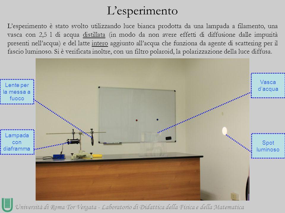 Università di Roma Tor Vergata - Laboratorio di Didattica della Fisica e della Matematica L'esperimento è stato svolto utilizzando luce bianca prodott