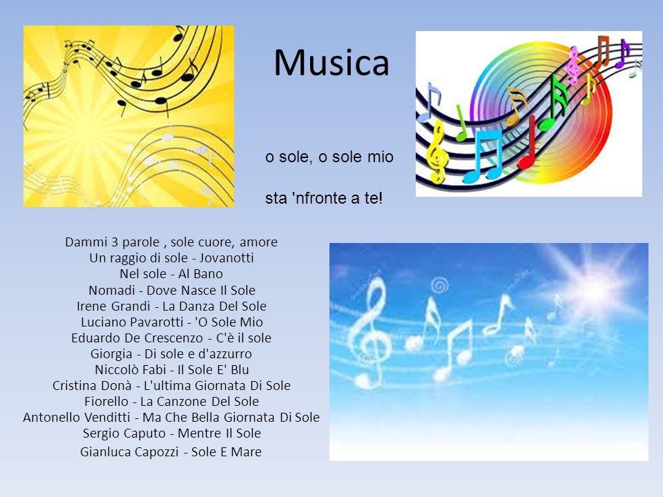 Musica Dammi 3 parole, sole cuore, amore Un raggio di sole - Jovanotti Nel sole - Al Bano Nomadi - Dove Nasce Il Sole Irene Grandi - La Danza Del Sole