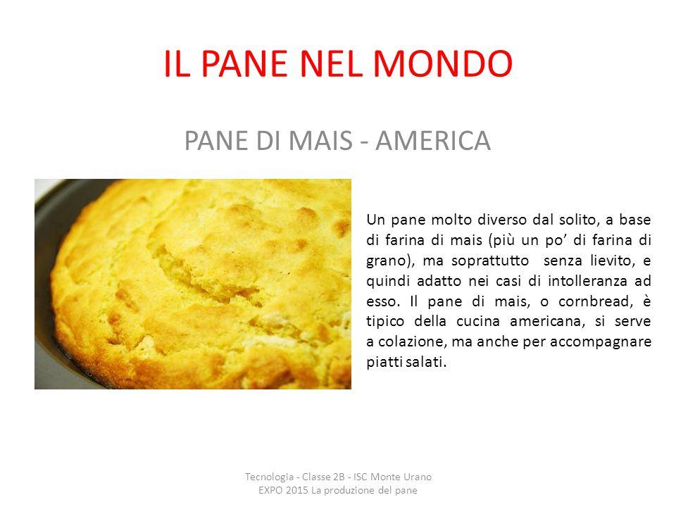 IL PANE NEL MONDO PANE DI MAIS - AMERICA Un pane molto diverso dal solito, a base di farina di mais (più un po' di farina di grano), ma soprattutto se