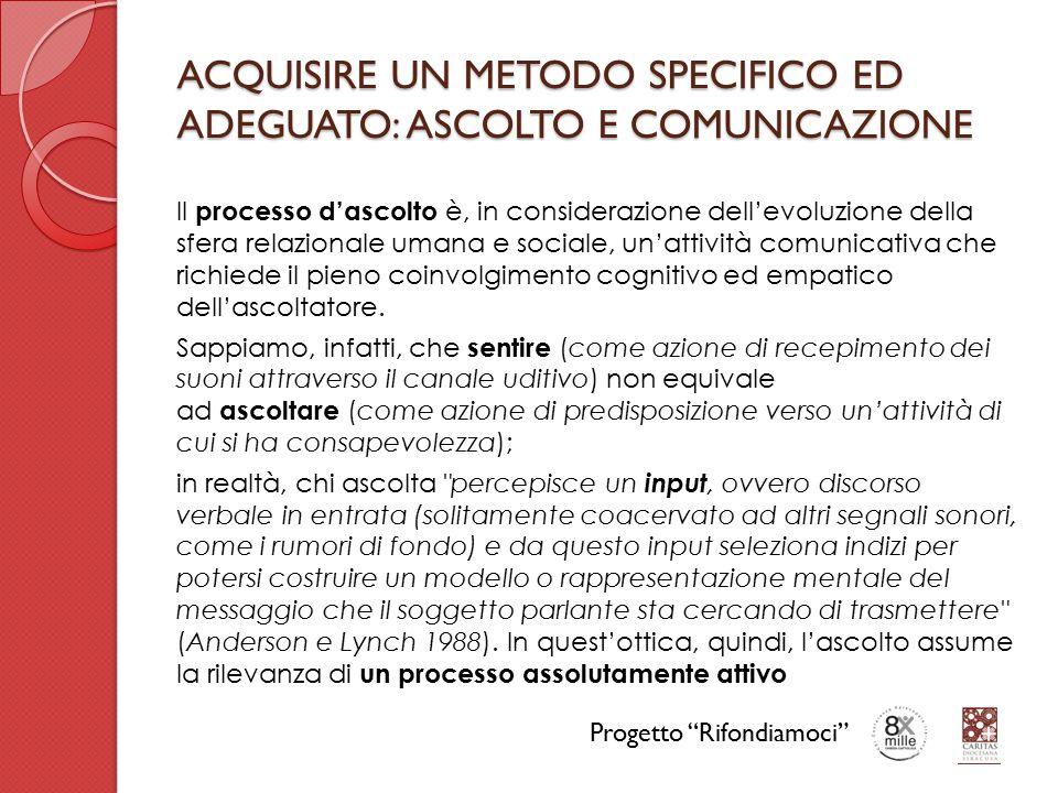 ACQUISIRE UN METODO SPECIFICO ED ADEGUATO: ASCOLTO E COMUNICAZIONE Il processo d'ascolto è, in considerazione dell'evoluzione della sfera relazionale umana e sociale, un'attività comunicativa che richiede il pieno coinvolgimento cognitivo ed empatico dell'ascoltatore.