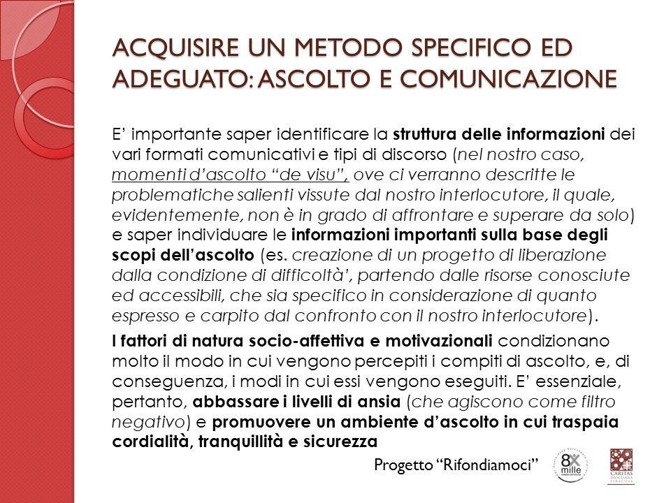 ACQUISIRE UN METODO SPECIFICO ED ADEGUATO: ASCOLTO E COMUNICAZIONE E' importante saper identificare la struttura delle informazioni dei vari formati c