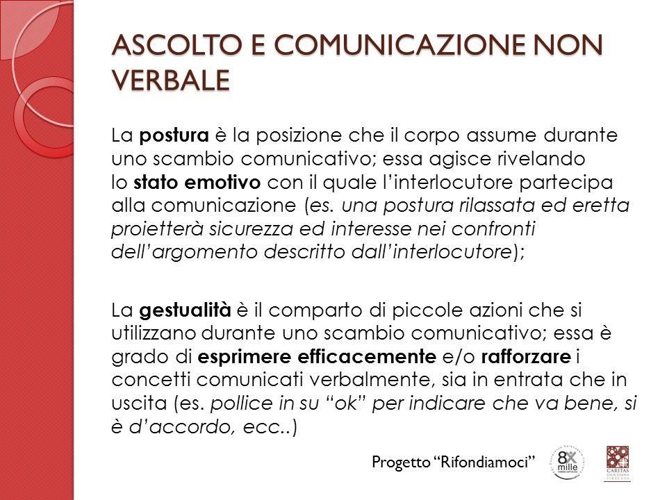 ASCOLTO E COMUNICAZIONE NON VERBALE La postura è la posizione che il corpo assume durante uno scambio comunicativo; essa agisce rivelando lo stato emotivo con il quale l'interlocutore partecipa alla comunicazione (es.