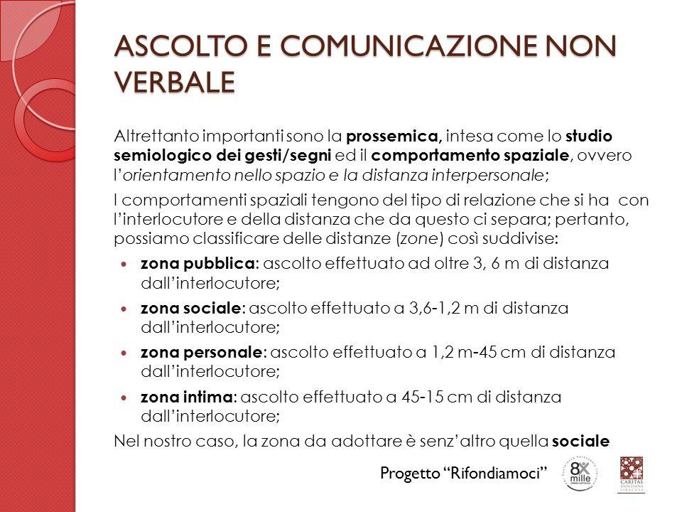 ASCOLTO E COMUNICAZIONE NON VERBALE Altrettanto importanti sono la prossemica, intesa come lo studio semiologico dei gesti/segni ed il comportamento s