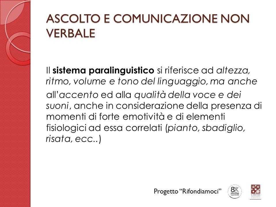 ASCOLTO E COMUNICAZIONE NON VERBALE Il sistema paralinguistico si riferisce ad altezza, ritmo, volume e tono del linguaggio, ma anche all'accento ed a