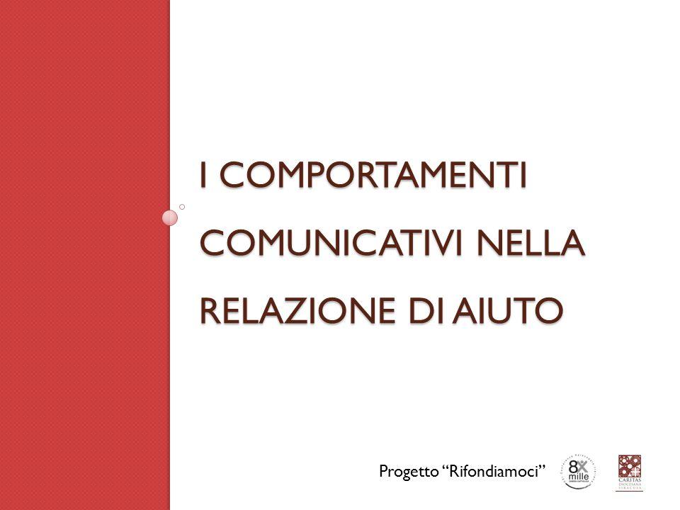 """I COMPORTAMENTI COMUNICATIVI NELLA RELAZIONE DI AIUTO Progetto """"Rifondiamoci"""""""