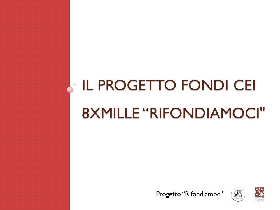 IL PROGETTO FONDI CEI 8XMILLE RIFONDIAMOCI Progetto Rifondiamoci